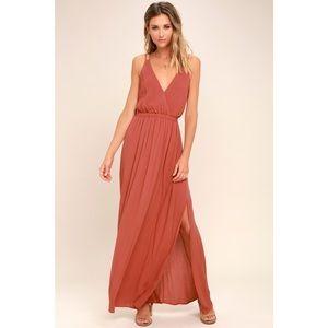 Lulu's Lost in Paradise Rusty Rose Maxi Dress